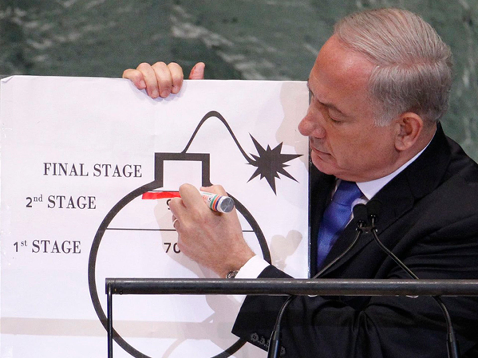 Prime Minister Netanyahu draws a red line on a graphic of a bomb at the UN General Assembly in September 2012.