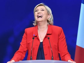 French presidential candidate Marine Le Pen reacts on stage during a campaign meeting in Paris, France, April 17, 2017.