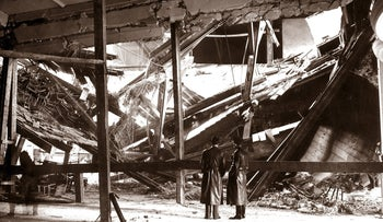 The destructed hall of the 'Buergerbraeukeller' in Munich, Germany, the site of an attempted assassination of Adolf Hitler carried out by Johann Georg Elser on November 8, 1939.