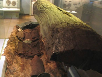 """The """"Egtved Girl"""", buried in Denmark in a barrow (a tree-trunk coffin) in around 1380 BCE, at the National Museum of Denmark, may emblemize the prehistoric practice of long-distance marriages to seal trading bonds"""