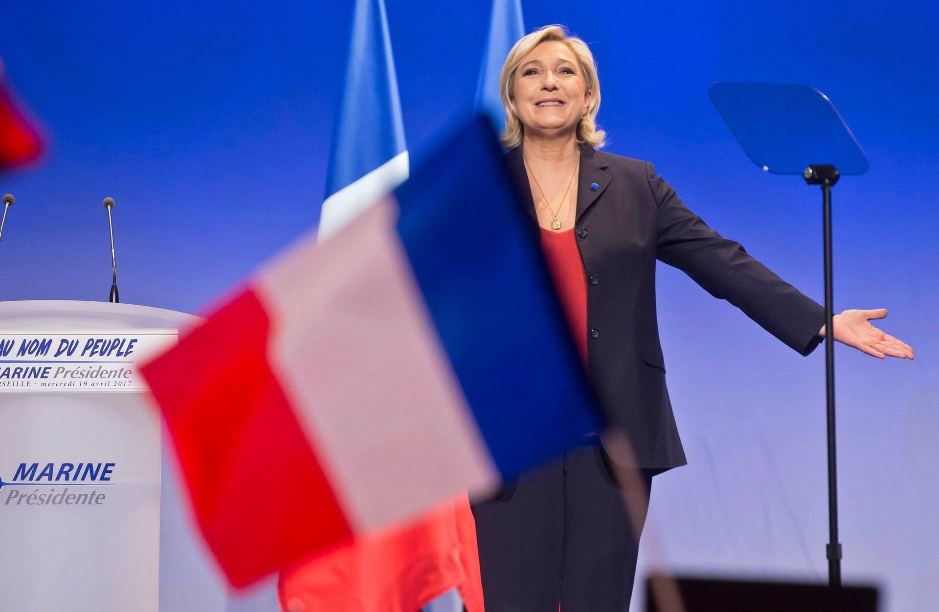 Far-right candidate Marine Le Pen at a rally in Marseille, southern France, April 19, 2017.