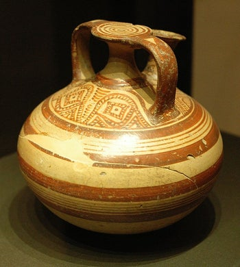 A stirrup jar from around  c. 1350 BC