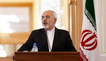 Iran's Foreign Minister Mohammad Javad Zarif speaks at a news conference in Tehran, August 23. 2015.