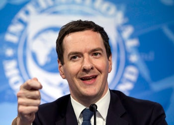 Chancellor of the Exchequer George Osborne at a news conference in Washington on April 14, 2016.