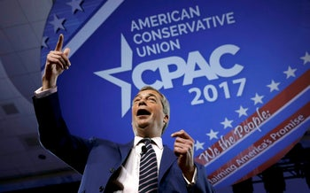 Member of the European Parliament Nigel Farage speaks at CPAC in Maryland on February 24, 2017.