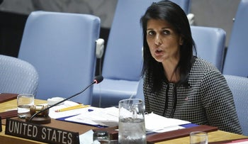 United Nations U.S. Ambassador Nikki Haley addressing the Security Council after a vote on a resolution condemning Syria's use of chemical weapons failed, April 12, 2017 at U.N. headquarters.