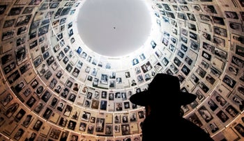 An Ultra Orthodox Jewish man visits the Hall of Names at the Yad Vashem Holocaust Memorial in Jerusalem