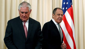 Russian Foreign Minister Sergei Lavrov and U.S. Secretary of State Rex Tillerson at a press conference in Moscow, April 12, 2017.