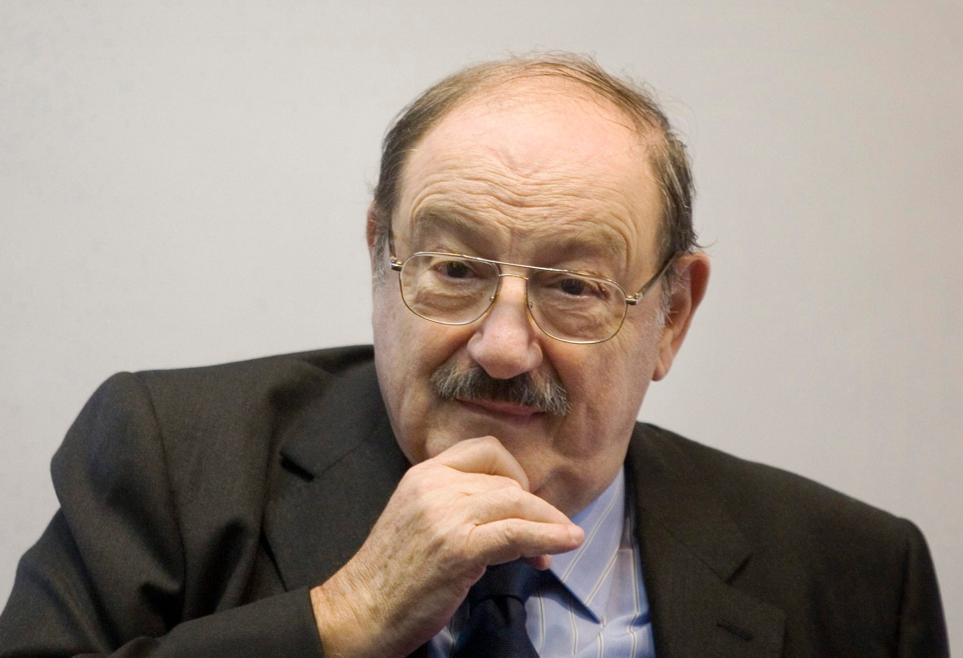 The late writer Umberto Eco during the 25th Annual Book Fair in Jerusalem, February 2011.
