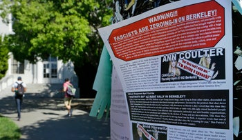 A leaflet protesting the arrival of Ann Coulter is seen stapled to a message board at the University of California, Berkeley, April 21, 2017.
