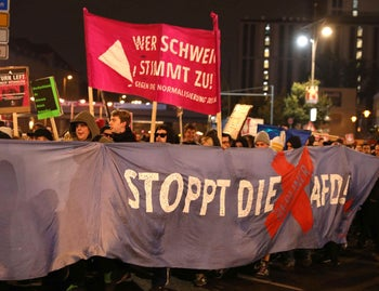 Demonstrators protest against the anti-immigration party AfD after Germany's parliamentary election in Berlin, Germany on September 24, 2017.