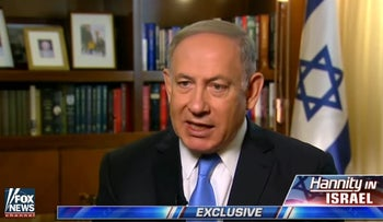 Netanyahu talks dangers posed by nuclear-armed Iran with Fox News' Sean Hannity, April 22, 2017.