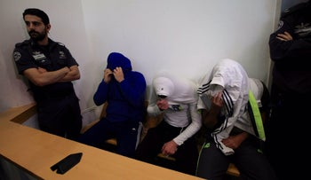 Three of the suspects in court in Be'er Sheva, April 23, 2017.