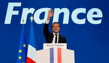 French presidential election candidate for the En Marche! movement Emmanuel Macron delivers a speech at the Parc des Expositions in Paris, April 23, 2017.