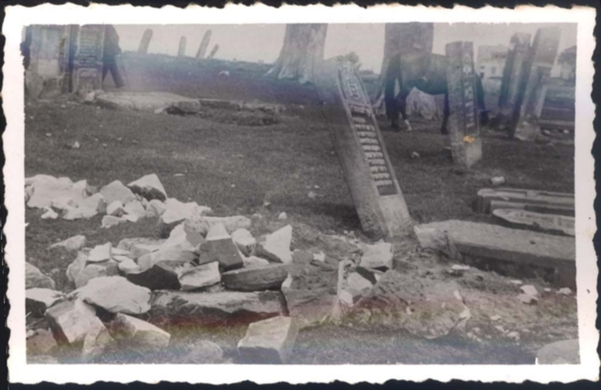 A desecrated Jewish cemetery.