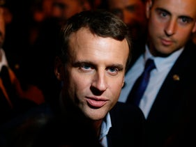 Emmanuel Macron talks to journalists in Paris, April 23, 2017, after the first round of the presidential elections.