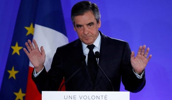 Fillon delivers a speech at his campaign headquarters in Paris after early results in the first round of presidential election, on April 23, 2017.