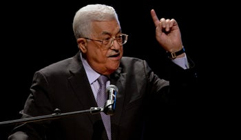 File: Palestinian President Mahmoud Abbas, speaks during a conference in the West Bank City of Bethlehem, 2016.