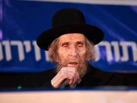 Rabbi Aharon Leib Steinman at an election rally in 2012.