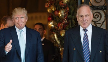 U.S President-elect Donald Trump stands next to Ronald Lauder, president of the World Jewish Congress,  after a meeting at Mar-a-Lago in Palm Beach, Florida, December 28, 2016.