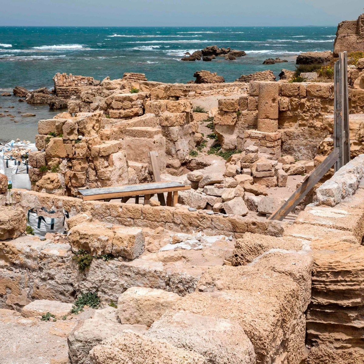 A general view taken on April 26, 2017, shows a general view of the renovations at the ancient harbour of Caesarea, in the Israeli Mediterranean town. / AFP PHOTO / JACK GUEZ