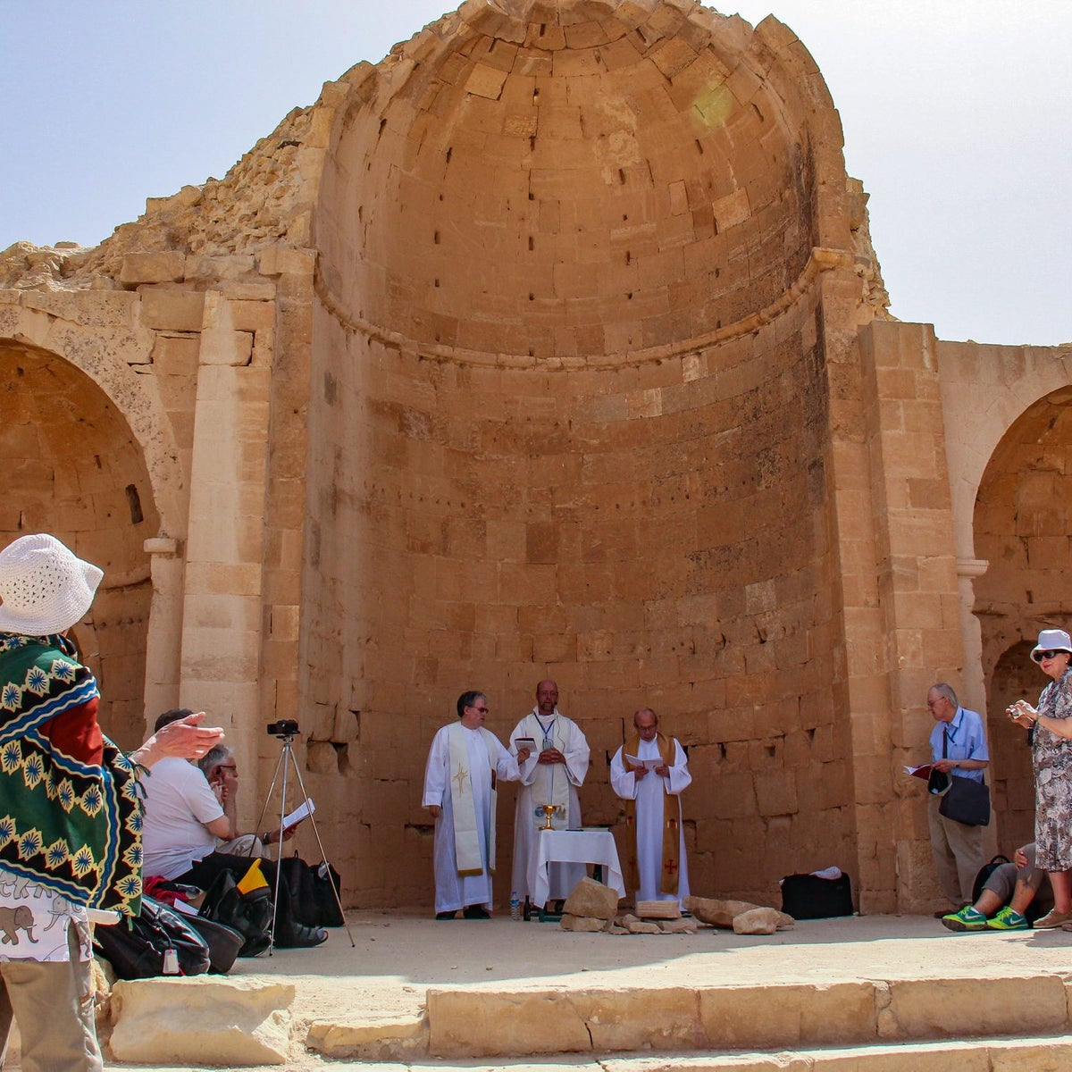 Pilgrims attend a Catholic Mass held among the ruins of a church in Shivta, one of the most prosperous Negev settlements during the Byzantine era, over 1,600 years ago.