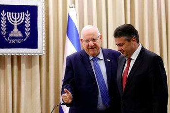 Israeli President Reuven Rivlin welcomes German Foreign Minister Sigmar Gabriel at the President's Residence in Jerusalem on April 25, 2017.