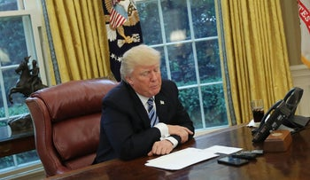 U.S. President Donald Trump speaks during an interview with Reuters in the Oval Office of the White House, April 27, 2017.