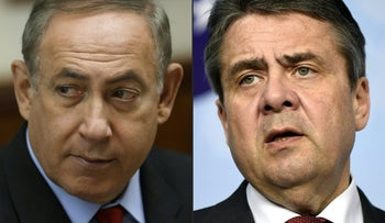 This combination of pictures created on April 25, 2017 shows Israeli Prime Minister Benjamin Netanyahu (L) attending a cabinet meeting in Jerusalem on March 16, 2017 and German Minister of Foreign Affairs Sigmar Gabriel during a joint press conference on April 5, 2017 at the EU headquarters in Brussels.