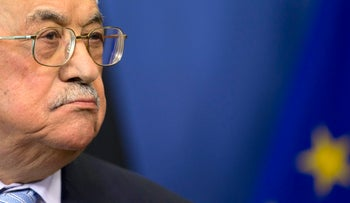 Palestinian President Mahmoud Abbas listens during a media conference at EU headquarters in Brussels on Monday, March 27, 2017.