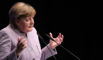Angela Merkel, Germany's chancellor and Christian Democratic Union (CDU) leader, speaks during a North Rhine-Westphalia state election campaign event in Beverungen, Germany, on April 27, 201