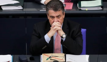German Vice Chancellor and Foreign Minister Sigmar Gabriel attends the debate about the European Union at the German parliament Bundestag in Berlin, Thursday, April 27, 2017.