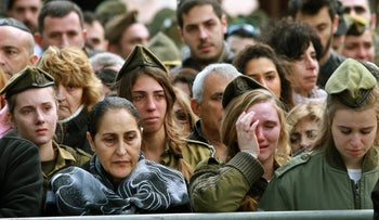 People mourn at the funeral of 1st Lt. Yael Yekutiel, who was killed in a car-ramming attack in January 2017.