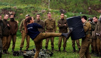 Soldiers practicing hand-to-hand combat in the Golan Heights, March 2017.