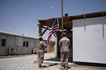 U.S. Marines return to Helmand province in Afghanistan and raise the flag at Leatherneck Camp in Lashkar Gah, April 29, 2017.