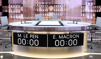 This picture take Tuesday May 2, 2017 in La Plaine Saint Denis, outside Paris, shows the TV studio where French presidential candidates will debate Wednesday, four days before the vote for the second round. Centrist presidential candidate Emmanuel Macron will debate with far-right candidate Marine Le Pen.