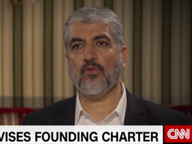 A screenshot of Hamas leader Khaled Meshal in an interview with CNN released Wednesday, May 3, 2017.