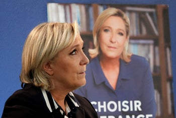 French presidential candidate Marine Le Pen speaks during an interview with Reuters in Paris, May 2, 2017.