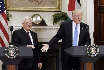 White House press conference between U.S. President Donald Trump and Palestinian President Mahmoud Abbas. May 3, 2017.