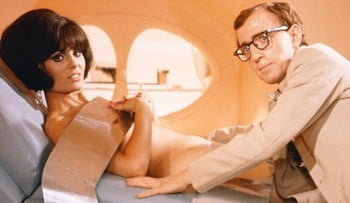 "Daliah Lavi and Woody Allen in the 1967 film ""Casino Royale."""