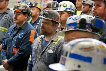 coal miners listen to U.S. Environmental Protection Agency Administrator Scott Pruitt during his visit to Consol Pennsylvania Coal Company's Harvey Mine in Sycamore, Pennsylvania, April 13, 2017.