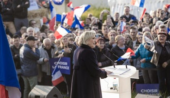 Far-right candidate Marine Le Pen campaigning in Ennemain, France, May 4, 2017.