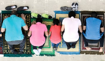 Egyptians praying outside a Cairo mosque in 2015.