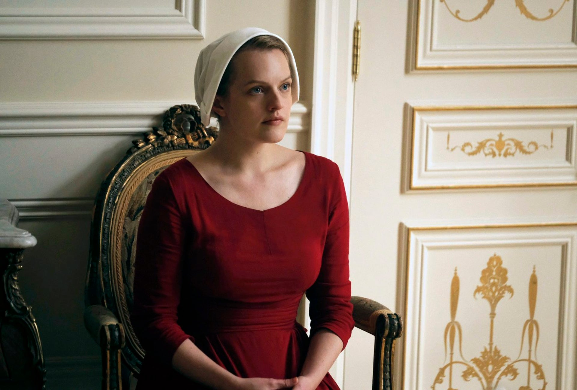 """Elisabeth Moss as Offred in the television adaptation of """"The Handmaid's Tale."""""""