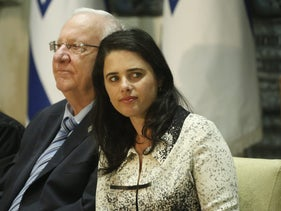 Justice Minister Ayelet Shaked with President Reuven Rivlin at a judge appointment ceremony, April 2017.
