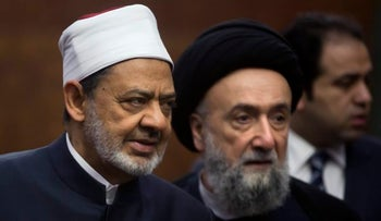Sheikh Ahmed el-Tayeb, Grand Imam of Al-Azhar, left at the university's headquarters in Cairo, Egypt, Wednesday, April 26, 2017.