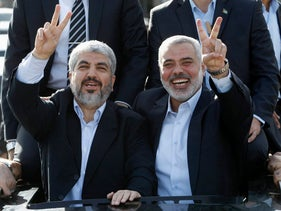Hamas leaders Khaled Meshal and Ismail Haniyeh in Gaza, December 7, 2012.