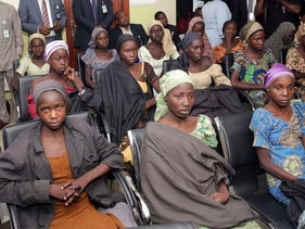 Chibok schoolgirls recently freed from Islamic extremist captivity are seen during a meeting with Nigeria's vice president, October 13, 2016.