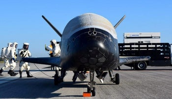 The U.S. Airforce's X-37B after landing at NASA's Kennedy Space Center in Cape Canaveral, Florida, U.S., May 7, 2017.