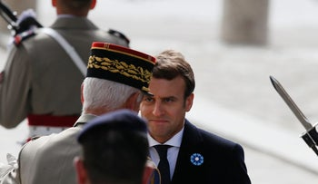 French President-elect Emmanuel Macron at a Paris ceremony marking the 72nd anniversary of the victory over Nazi Germany, May 8, 2017.
